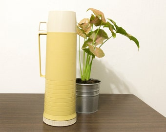 Vintage 70's Retro Cream + Mustard Hot/Cold Thermos | Never Used