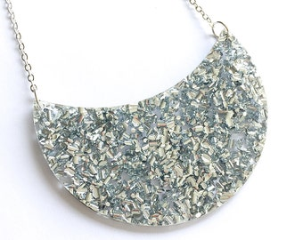 Celeste Necklace Lush Silver - Laser Cut Acrylic Statement Necklace