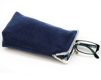 Eyeglass Case - Sunglass Case - wide single glasses case - Blue Corduroy and Floral cotton- Silver Frame