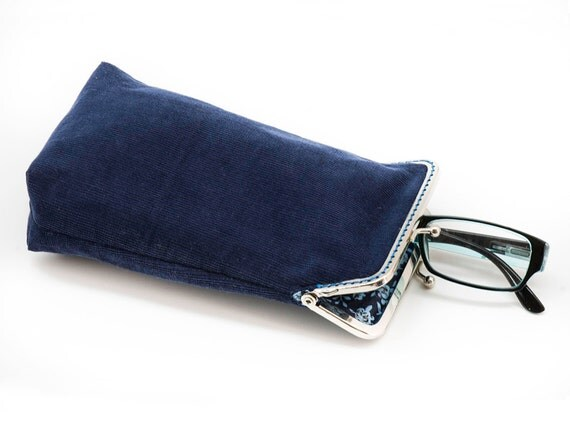Eyeglass Case - Sunglass Case - Blue Corduroy and Floral cotton- Silver Frame
