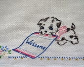 Hand Embroidered WELCOME Hand Guest Towel - Embroidered Welcome Mat Puppy Dog - Huck Toweling Dish Tea Kitchen Towel - Bathroom Decor - Gift