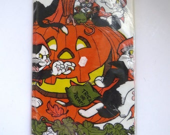 Vintage Halloween Paper Tablecloth by American Greetings - 1979 Black Cats Pumpkins - New in Package - Halloween Party Decor - Collectible