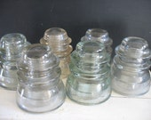 Vintage Glass Electrical Insulators - Clear Glass - Set of Six
