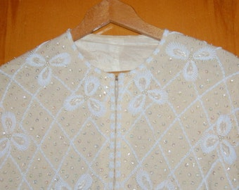 Heavily Beaded Sweater Cashmere Cardigan Sweater 50s Glamour