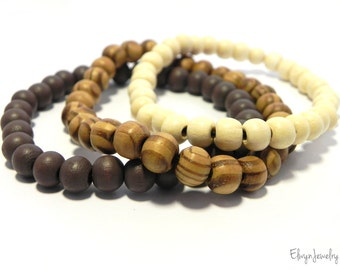 3 Beaded Bracelets, Wooden Bracelet, Mens Jewelry, Stacking Bracelets, Mens Brown Bracelet, Stretch Bracelet, Gift For Him, Fathers Day Gift