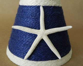 Jute Wrapped Navy with  White trim Chandelier Lampshade with Pencil Starfish Nautical Decor Custom Order Only
