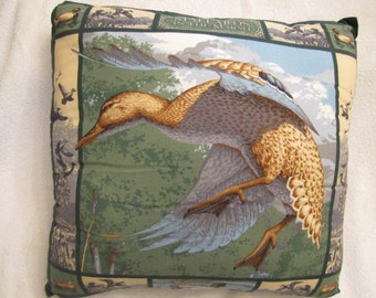 "Mallards in the Marsh Pillow.     Design on both sides of the pillow; measures 17"" x 17"""