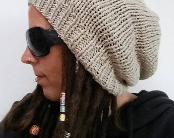 Cream handmade knitted dreadlock hat dread beanie - Dread accessory