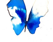bright ultramarine and azure blue butterfly. original watercolour painting