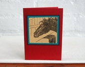 Horse Greeting Card Vintage Black Beauty Book Illustration Handmade Blank Note Card Stationery