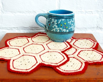 Red White Crocheted Doily Pair Vintage 1940s Handmade Cotton Table Trivet Hot Pads Christmas