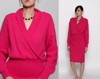 Vintage 80s Hot Pink Fuzzy Sweater Dress
