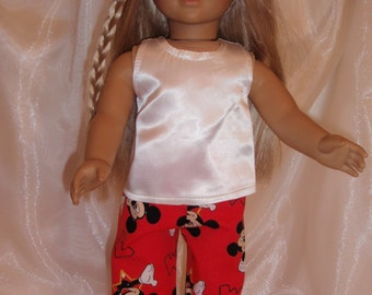 "18 Inch Doll White Satin Tank, 18"" Doll Clothes, AG Doll Clothes, Girl Doll Cloths"