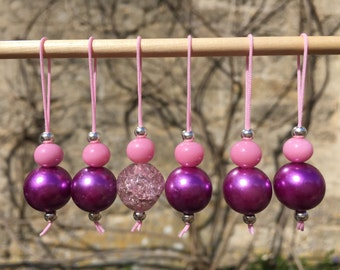 Set of six pink/purple upcycled stitch markers