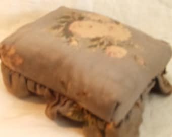 Victorian Era Doll Furniture Ottoman Footstool Floral Chintz Miniature