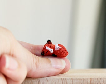 Tiny miniature sleeping fox - OOAK