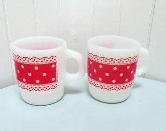 Vintage 1950s Red Polka Dot Milk Glass Mugs