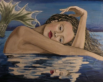 """PRINT of Original Mermaid Painting by Lore """"Reflections""""."""