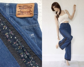 Vintage Levi's with Patchwork Alterations, High Waisted Bell Bottoms, Dark Denim with Calico Panels, Boho Festival Pants, Size 12 or 14