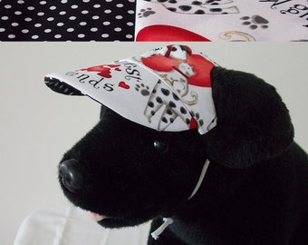Dog visor, reversible (two fabrics), comfortable and colorful. V11   Can be personalized.