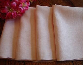 Pink Linen Napkins Set of Four Vintage Dinner Napkins Pastel