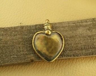 Brass focal heart pendant