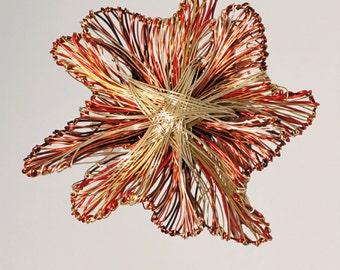 Orange flower brooch Metal flower brooch Art jewelry Modern brooch Wire flower brooch Unusual brooches Flower jewelry Wire sculpture art