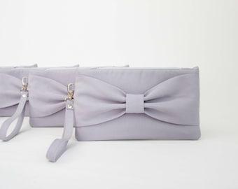 SALE-  Silver grey Evening bag ,Wedding clutch  bow wristlet clutch ,bridesmaid gift , set of 1,2,3,4,5,6,7,8,9,10,11,12,one piece 9.90 USD