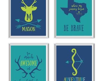 Woodland Nursery Art Boy, Woodland Nursery Decor Boy, Deer, Antlers, Arrows, Name, State, Birth Date, Be Brave, Adventure Awaits, Teal, Navy