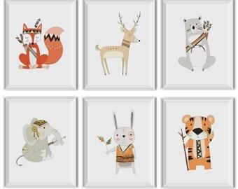 Woodland Nursery Art Boy, Woodland Nursery Decor Boy, Tribal Nursery Art Boy, Tribal Wall Decor Boy, Woodland Critters, Fox, Arrows, Tribal