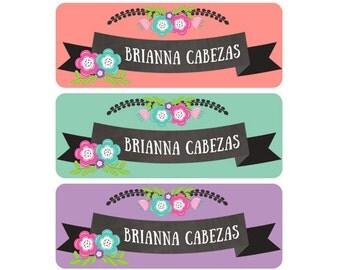 Girl Name Labels, Waterproof, Daycare Name Labels, School Name Labels, Baby Bottle Name Labels, Flowers, Chalkboard, Pink Mint Purple Girl