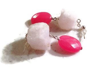 Hot Pink Earrings - Jade Gemstone Jewelry - Sterling Silver Jewellery - Dangle - Mod - Fashion - Quartz - Chunky
