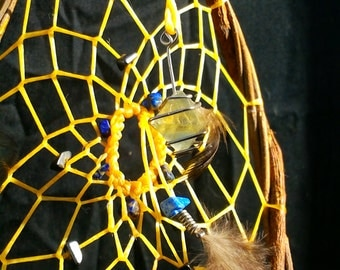 Dream Catcher for clearing negative energy within relationships - Hematite, Lapis Lazuli, and Fluorite