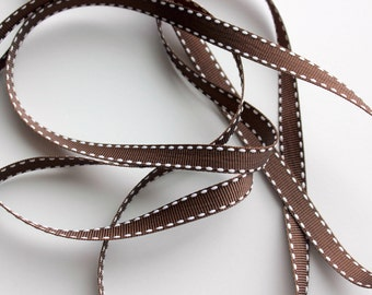 """3/8"""" Grosgrain Ribbon with Side Stitching - Brown with White - 5 yds"""