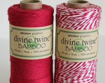 CLOSEOUT - Bamboo Divine Twine - Solid Red or Stripe Bakers Twine - Full Spool - 180 yards