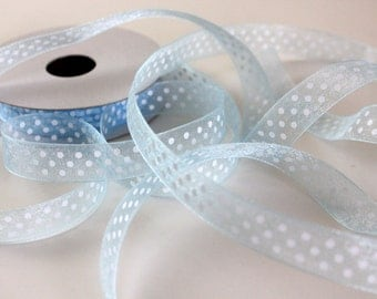 "5/8"" Dotted Organza Ribbon - Light Blue with White Dots - 25 yd Spool"
