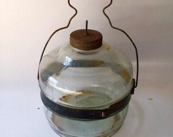 Antique Glass Kerosene Canister