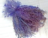 Hand Dyed British Teeswater Wool locks. 4 x 1oz for Waldorf Dolls, Art Dolls, Blythe Dolls, Spinning, Felt making 'Violet Sky' colorway