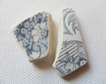2 lovely grey patterned sea pottery pieces - Pretty English beach find pieces from Lancashire, UK