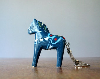 Vintage Dala Horse Key Ring Blue Sweden