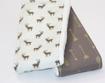 Baby Burp Cloths - Set of 2 - Deer in Stone and Shimmer Arrows