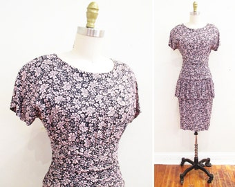Vintage 80s Dress | Pink and Black Floral Print Rayon 1980s Dress | size small
