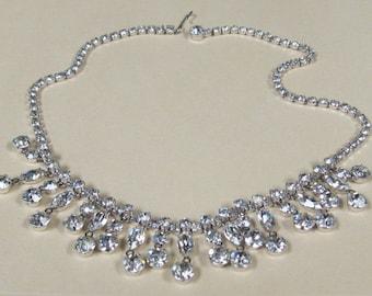 Vintage Rhinestone Statement Necklace Rhinestone Drops Silver Tone Finish~ Bride