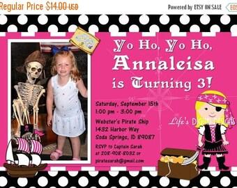Pirate Girl Birthday Invitations Pink White Black Polka Dot Photo Option Customizable Printable