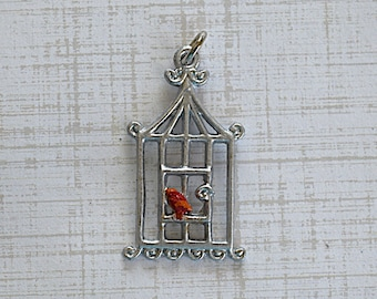 Silver Patina Birdcage With Red Bird -32x17mm- Pendant - 1 Piece