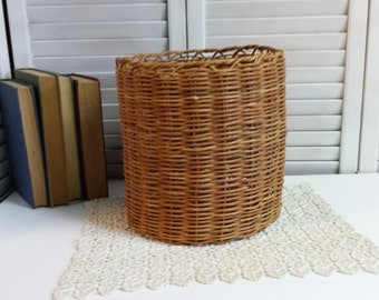 Vintage Wicker Basket Plant Holder Storage Waste Basket