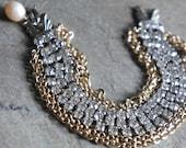Rhinestone bracelet vintage rhinestone and chain bracelet bridal jewelry wedding jewelry assemblage jewelry F476-by French Feather Design