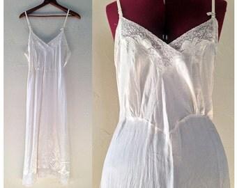 1940s Silky Smooth Ivory Slip / Vintage Wedding Lingerie / White Lace Slip Nightgown / 1940s Wedding Lingerie / 1940s Slip