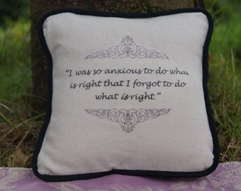 Miniature Jane Austen Inspired Pillow. Mansfield Park Quote. Cotton Decorative Pillow