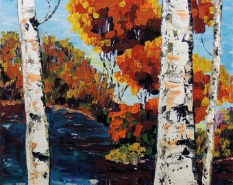 Birch tree Landscape Impasto heavy texture Palette knife ORIGINAL Modern Fine Art oil Red on canvas impressionist gift Painting by IraSher